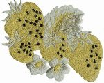 5'' by 4'' Iron On Metallic Gold/Silver Strawberries Applique-0