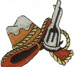 2 3/4'' by 2 3/8'' Iron On Cowboy Hat & Pistol Applique-0