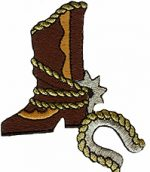 2 5/8'' by 3 1/4'' Iron On Cowboy Boot & Horseshoe Applique-0