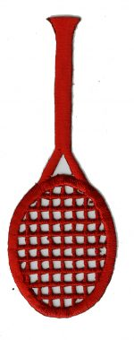 1 3/8'' by 3 7/8'' Red Tennis Racket Iron On Applique-0