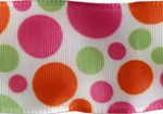 "1 1/2"" Multi Colored Wired Polka Dot Taffeta Ribbon-0"