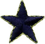1'' - 2.6cm - Navy Star with Gold Edge-0