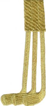 2 1/8'' by 4 7/8'' Iron On Metallic Gold Golf Clubs Applique-0