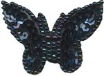 1 1/4'' by 1 3/4'' Black/Dark Multi Beaded & Sequined Butterfly Applique-0