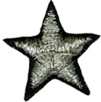 1'' - 26mm - Black/Silver Star Applique-0
