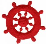 2 1/8'' - 5.4cm - Iron On Red Boat Wheel Applique-0