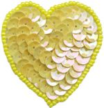 1 7/8'' by 2'' Yellow Beaded & Sequined Heart Applique with Pin Back-0