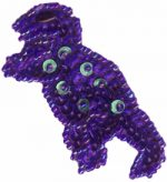 2 1/2'' by 1 1/4'' Beaded & Sequined Purple Dinosaur Applique-0