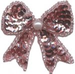 1 3/4'' by 1 1/2'' Pink Beaded & Sequined Bow Applique-0