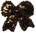 1 1/8'' by 1 1/8'' Copper Beaded & Sequined Bow Applique With Pin on Back-0