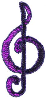 7 3/8'' by 3 3/8'' Purple Beaded & Sequined Musical Note Applique-0