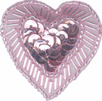 1 5/8'' by 1 1/2'' Pink Beaded & Sequined Heart with Pin Back-0