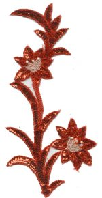 11 3/4'' by 5 5/8'' Red with Silver/White Beaded & Sequined Applique-0