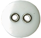 1/2'' - 2 Hole - White Button with Silver Edge-0