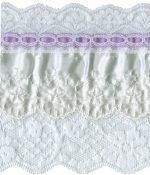 4 5/8'' White Lace with Lavender Satin Ribbon Trim-0