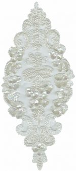 13'' by 5 3/4'' White Organza Beaded & Sequined Applique-0