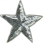 4 1/2'' - 11.4cm - Silver Beaded & Sequined Star Applique-0