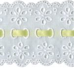 2 7/8'' White Eyelet Lace Trim with 1/4'' Yellow Ribbon