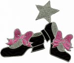 5 3/8'' by 4 7/8'' Shoes with Bows/Stars Iron on Applique