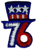 1'' by 13/16'' Sew on Red,White, Blue 76 Applique-0