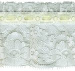 4 1/2'' Eggshell Gathered Lace with Yellow Ribbon-0
