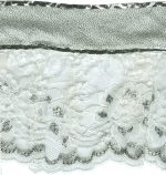 5 1/2'' White/Silver Gathered Lace with Silver Top-0