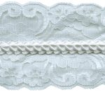 3 1/2'' White Lace with Pleated Ribbon Center-0