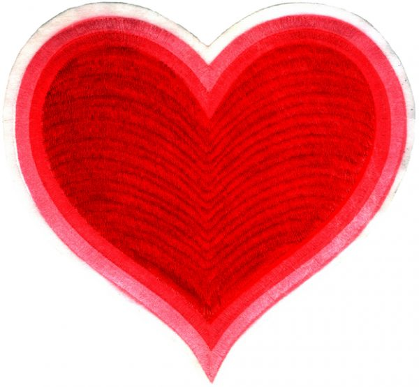 "8 1/4"" by 7 7/8"" Embroidered Red Heart Applique. heart applique"