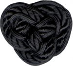 "2 1/8"" by 1 7/8"" Black Braided Frog Closure-0"