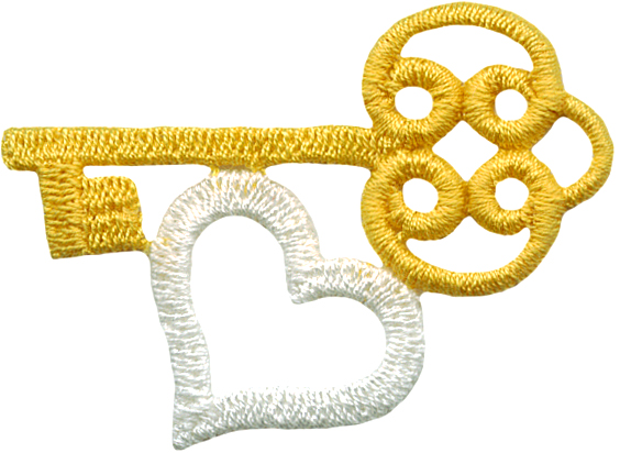 "Yellow/White - 3 1 7/8"" by 1 1/4"" Iron On Key/Heart Applique heart applique"