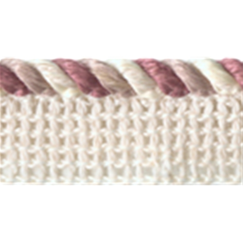 "1/4"" Multi Colored Ivory/Beige/Mauve Cord with 3/8"" Lip"