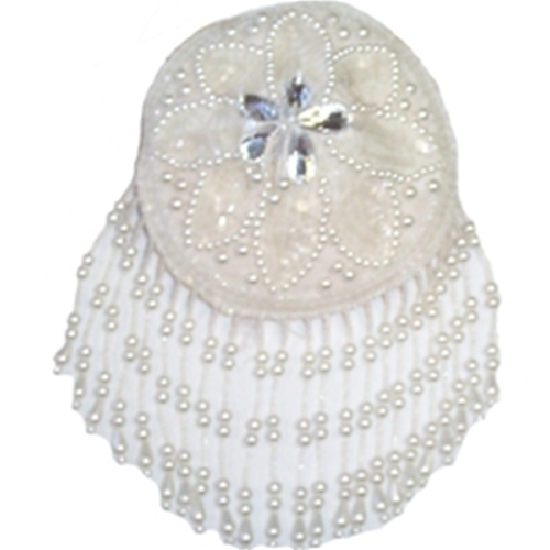 5'' - Beaded & Sequin White Circle Cup Applique