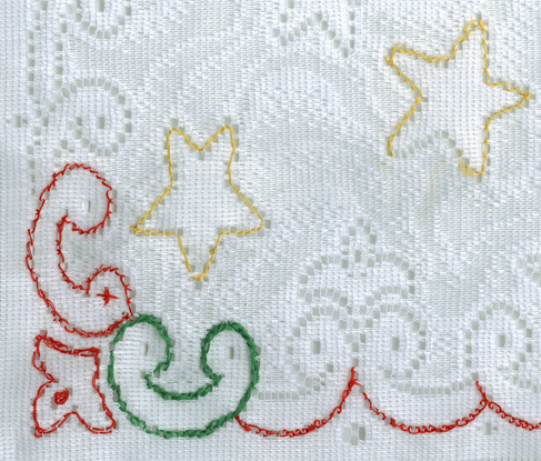 "22 1/2"" x 15 1/4"" White Lace Christmas Panel White Lace Christmas Panel"