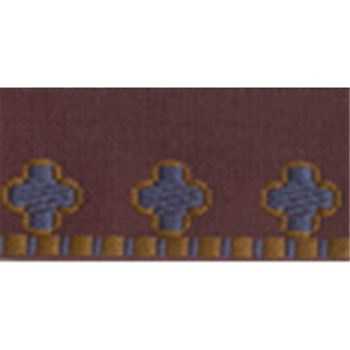 """7/8"""" Burgundy with Teal/Rust Embroidery Edging Trim"""