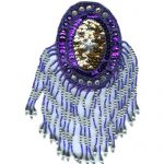 8 1/2'' by 3 3/4 - Purple Beaded & Sequin Applique8 1/2'' by 3 3/4 - Purple Beaded & Sequin Applique