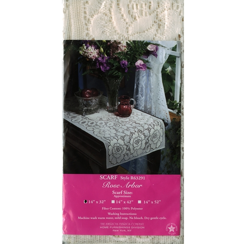 """Rose Arbor Lace Table Scarf - White 14"""" x 32"""" Lace Table Scarf"""