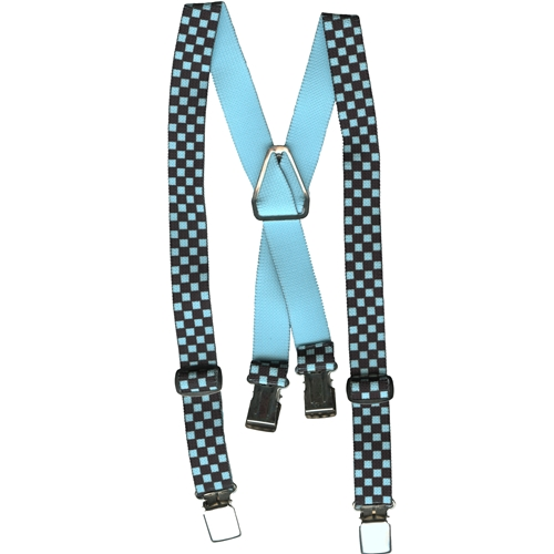 Checked Elastic Childs Suspenders - Turquoise/Black. children Suspenders, elastic Suspenders, suspenders