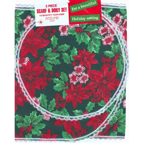 Christmas 3 Piece Scarf & Doily Set