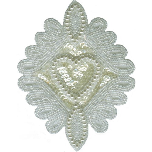 "5 11/16"" by 4 1/4"" White Beaded/Sequin Applique with Heart Center Beaded/Sequin Applique"