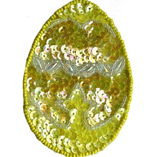 """3 1/2"""" by 2 1/2"""" Yellow/Silver Beaded & Sequin Egg Applique with Pin Back animal appliqués, animal patches, appliques, Beaded Butterfly Appliques, beaded lace appliques, beaded sequin appliques, bear patches, cheep trims appliques, cheeptrims patches, children Clothing, children patches, christmas patches, craft patches, Craft Stores, easter egg appliques, emblem patches, English netting appliqués, etsy venice lace appliqués, Eyelet lace appliqués, hobby lobby, Iron on appliques, iron on butterfly patches, Iron on fish patches, iron on letters, iron on numbers, iron on patches, iron on satin patches, iron on words, jo ann fabric stores, JOANN Fabric, lace patches for jeans, metallic appliques, nautical patches, netting appliqués, novelty patches, organza appliqués, organza beaded/sequin appliqués, Patches, Sequin butterfly appliques, sew on appliqués, sew on patches, shoe laces, sport applique, sports patches, Venice Lace Appliques, wedding lace appliques, women clothing, zippers"""