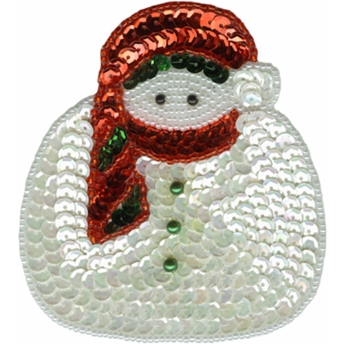 """3 3/8"""" by 3 5/8"""" Beaded/Sequin Snowman Applique"""