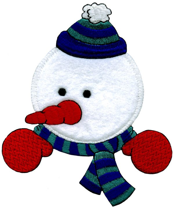 4 1/4'' by 5 1/8'' Iron On Snowman Applique holiday patches, iron on applique, iron on holiday patches, Snowman Applique