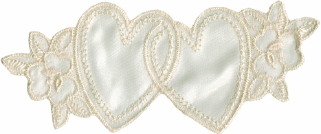 """4 5/8"""" by 2"""" Ivory Sati  Heart Applique. Satin Heart"""