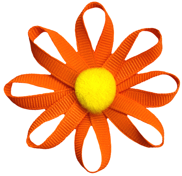 2 12 grosgrain ribbon flower with yellow pom pom center orange 2 12 grosgrain ribbon flower with yellow pom pom center orange mightylinksfo