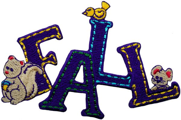 4'' by 2 1/8'' Iron On FALL Seasonal Applique Fall Patches, iron on patches