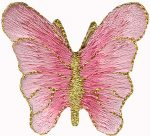 Pink - 1 3/8'' by 1 1/4'' Iron On Butterfly Appliques.Pink - 1 3/8'' by 1 1/4'' Iron On Butterfly Appliques. Butterfly Appliques.