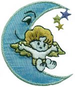 2 1/4'' by 2'' Iron On Angel On The Moon.2 1/4'' by 2'' Iron On Angel On The Moon. angel applique, iron on applique, iron on motif
