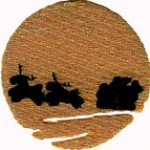 2 1/8'' by 5.4 cm - Iron On Gold Moon With Santa2 1/8'' by 5.4 cm - Iron On Gold Moon With Santa