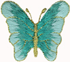 Aqua- 1 3/8'' by 1 1/4'' Iron On Butterfly AppliqueAqua- 1 3/8'' by 1 1/4'' Iron On Butterfly Applique butterfly applique