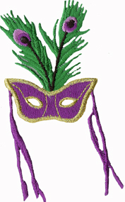 2 3/8'' by 4 1/8'' Mardi Gras Mask Iron On Applique-0